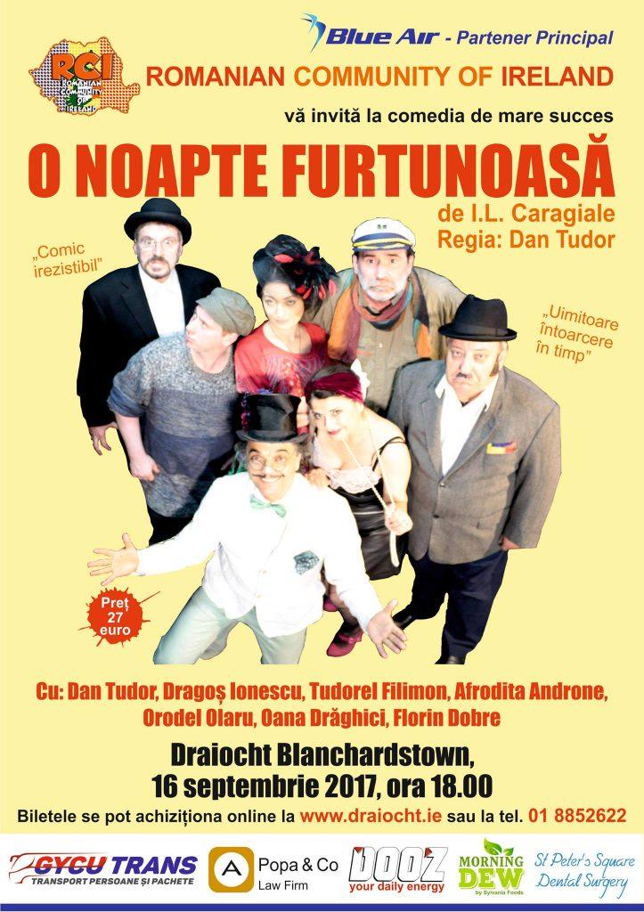 """""""O noapte furtunoasă"""" de Ion Luca Caragiale, Teatrul Draiocht Blanchardstown, 16 septembrie 2017"""