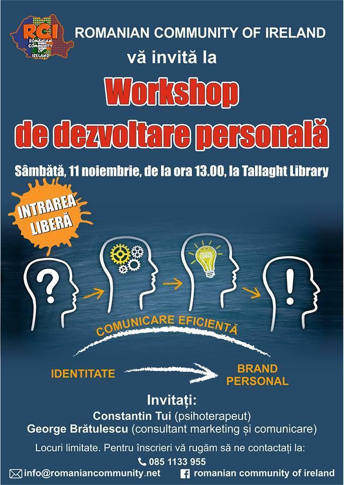 Workshop de dezvoltare personală - Tallaght Library, 11 noiembrie 2017