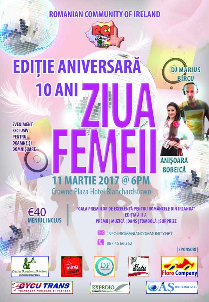Ziua Femeii 2017 - Ediție Aniversară, 11 martie 2017, Hotel Crowne Plaza Blanchardstown, ora 18:00