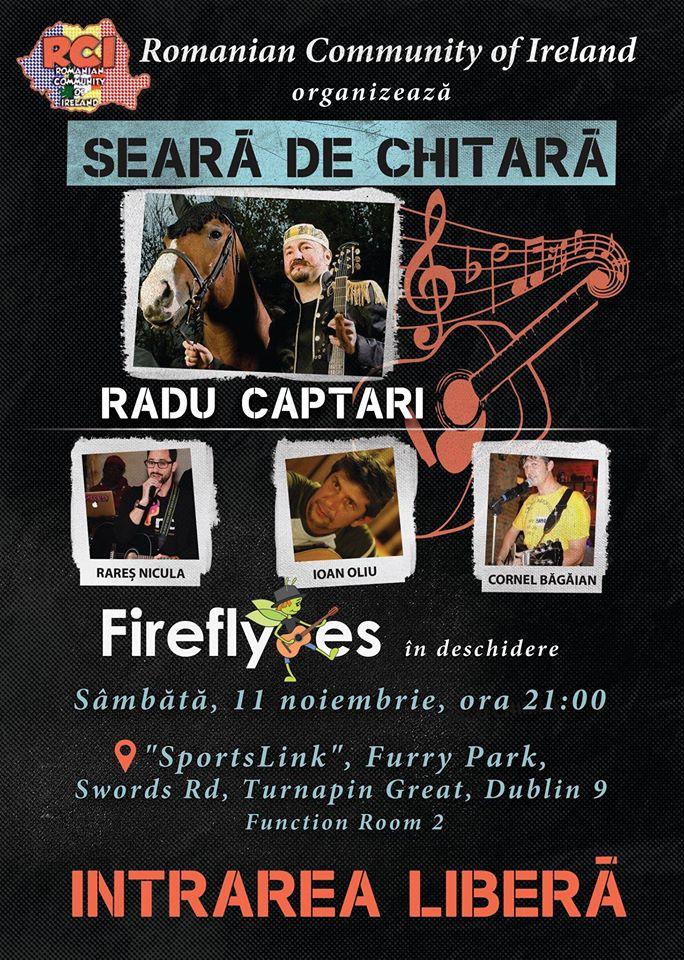 Seară de chitară cu Radu Captari și trupa Fireflyes (Licuricii) - SportsLink, 11 noiembrie 2017