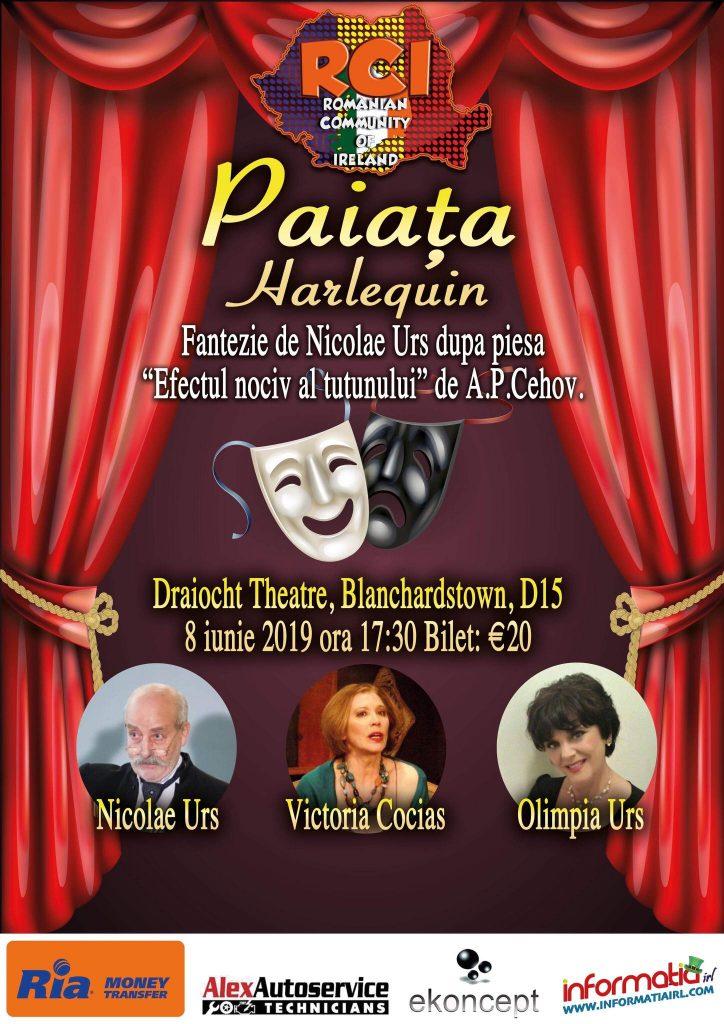 Invitație la teatru, Paiața, 8 iunie 2019, Teatrul Draiocht Blanchardstown